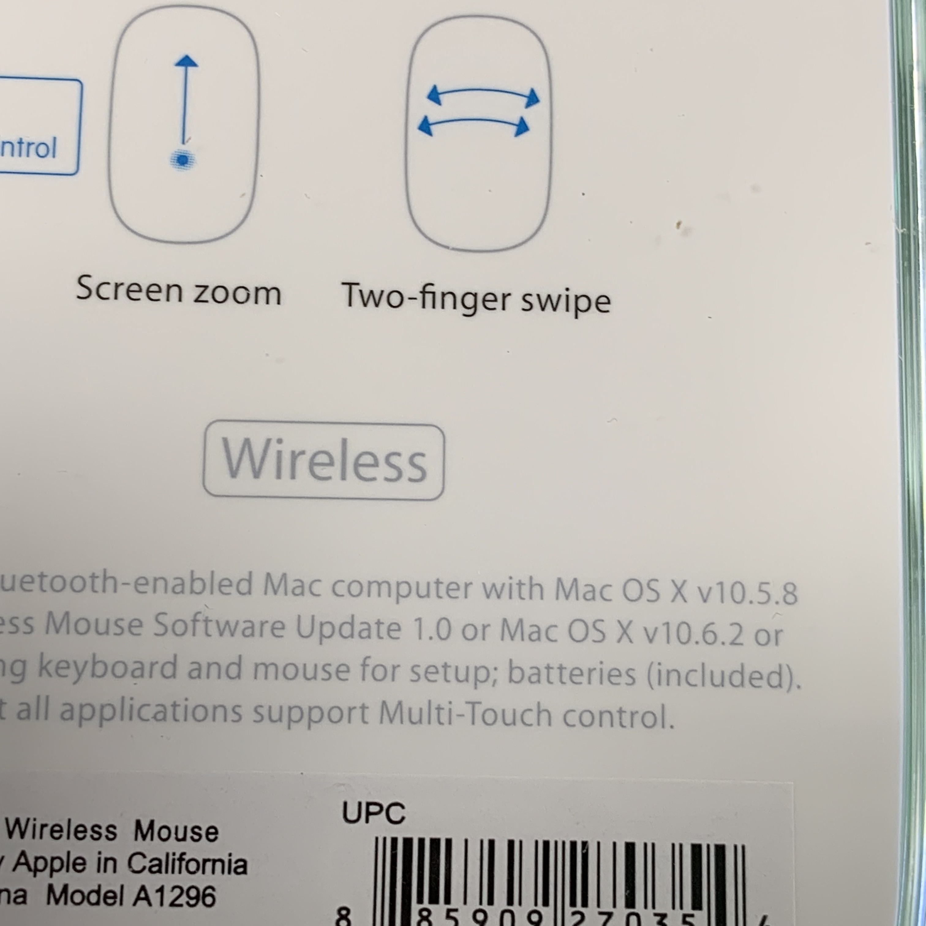 Apple Wireless Multi Touch Magic Mouse (A1296) (MB829LL/A) Brand-New